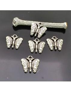 Farfalla ciondolo charms Farfalle colore argento 16x16 mm 5 Pz. per bigiotteria