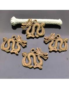 ciondoli drago BRONZO Charm pendente drago 20X23 MM 4Pz per bigiotteria