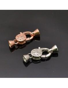 Chiusura Moschettone Argento 925% 21x9 mm coppette 5 mm 1 Pz.