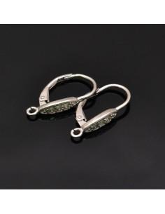 Monachelle chiuse con zirconi 21x11 mm in argento 925%