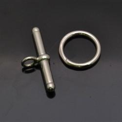 Chiusura a T in argento 925% da T 24 mm cerchio 13 mm anella 5 mm