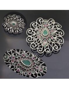 Ciondolo componente per collane e spille con pietre dure Zaffiro Rubino Smeraldo in argento 925% da 54x51 mm