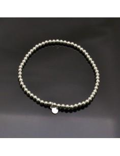 Base bracciale elasticizzato con perle 3 mm in argento 925% da 18 a 25 cm