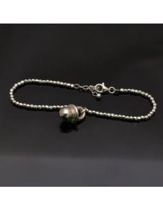 Bracciale con chiusura pallina 3 mm da 17 a 20 cm e Ciondolo Ciuccio 16x10 mm in argento 925%
