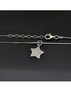 Collana con Ciondolo Stella con brillantini 13x12 mm con chiusura moschettone lunga 40 cm in argento 925%