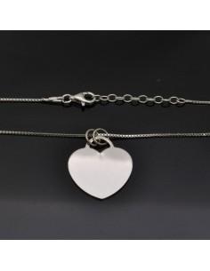 Collana con Ciondolo Cuore 22x20 mm con chiusura moschettone lunga 40 cm in argento 925%