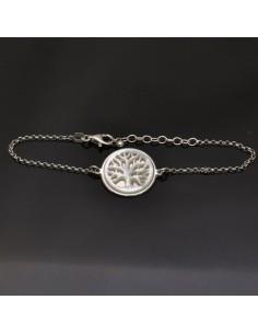 Braccialetto con albero della vita da 16 a 19 cm in argento 925%