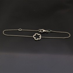 Bracciale con inframezzo fiore in argento 925% da 19 cm