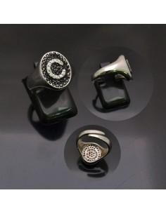 Anello con lettera iniziale C con brillantini regolabile in argento 925%