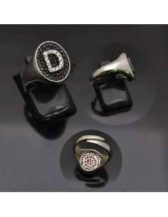 Anello con lettera iniziale D con brillantini regolabile in argento 925%