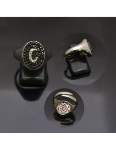 Anello con lettera iniziale G con brillantini regolabile in argento 925%