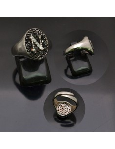 Anello con lettera iniziale N con brillantini regolabile in argento 925%