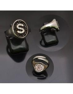 Anello con lettera iniziale S con brillantini regolabile in argento 925%