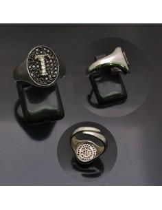 Anello con lettera iniziale T con brillantini regolabile in argento 925%