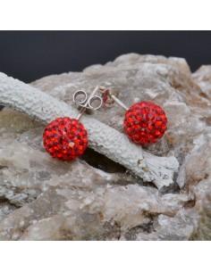 Orecchini perno a palla con strass rossi in argento 925% da 8 mm