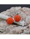 Orecchini perno a palla con strass arancioni in argento 925% da 8 mm