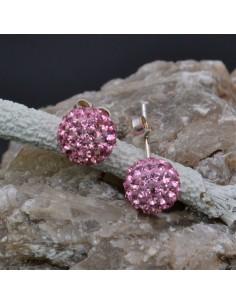 Orecchini perno a palla con strass rosa in argento 925% da 8 mm