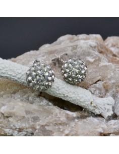 Orecchini perno a palla con strass grigio in argento 925% da 8 mm