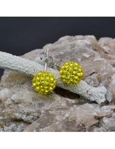 Orecchini perno a palla con strass giallo in argento 925% da 8 mm