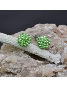 Orecchini perno a palla con strass verde chiaro in argento 925% da 8 mm