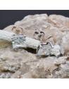 Orecchini a lobo quadrati con cristallo trasparente in argento 925% da 7 mm