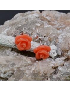 Orecchini a lobo con Fiore in resina color Salmone in argento 925% da 8 mm