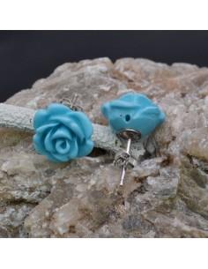 Orecchini a lobo con Fiore in resina color Azzurro in argento 925% da 14 mm