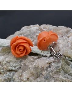 Orecchini a lobo con Fiore in resina color Arancione in argento 925% da 15 mm