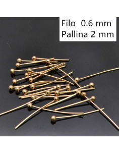 Chiodini Spilli testa Pallina col oro 20mm in ottone 50pz per Bigiotteria