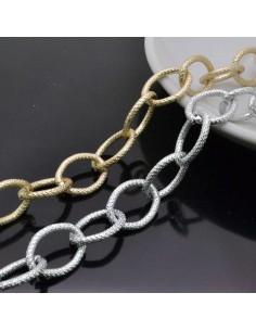 CATENA alluminio Zigrinata ovale 14.5 x18 mm alluminio filo 2.2 mm 1mt per borse bigiotteria
