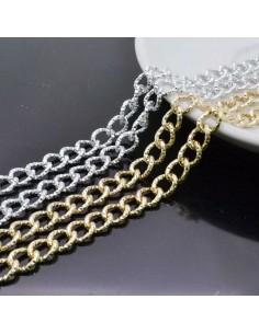 CATENA alluminio diamantata GROUMETTE 7x9 mm alluminio filo 1.5 mm 1mt per borse bigiotteria