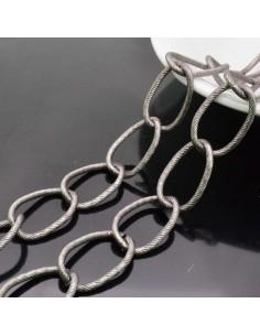 CATENA alluminio GROUMETTE zigrinata 17x27 mm alluminio filo 2.4mm 1mt per borse bigiotteria
