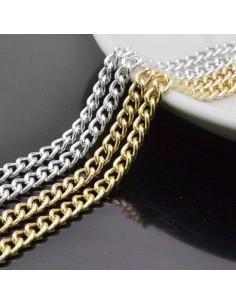 CATENA alluminio GROUMETTE 4.5x6.2 mm alluminio filo licia 1mt per borse bigiotteria