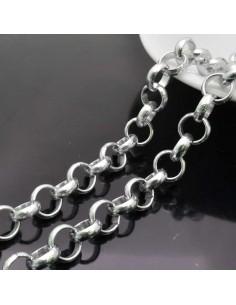 catena rolo in alluminio tonda col argento NICHEl 1mt per borse bigiotteria