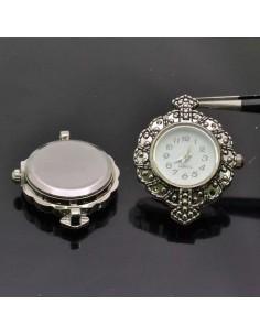 Base Orologio decorato Rotondo 27x32 col argento anticato per Bracciale bigiotteria
