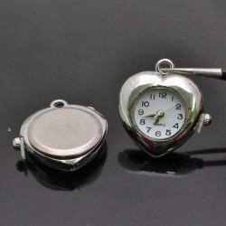 Base Orologio decorato forma cuore 27x29 mm col argento per Bracciale bigiotteria