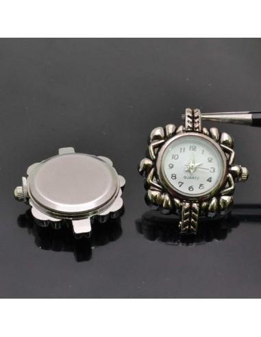 Base Orologio decorato forma quadrato 26x30 mm col argento per Bracciale bigiotteria
