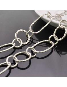 catene lavorata in metallo placcata argento forma ovale grande 20x37mm Cintura a catena