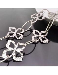 catene lavorata in metallo placcata argento forma quadrifoglio 31x37 mm Cintura a catena