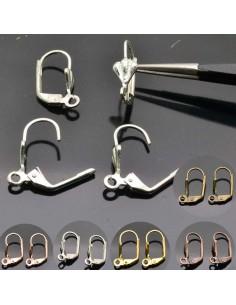 monachelle chiuse in ottone con conchiglia 16x10 mm col varia 4 pz per bigiotteria