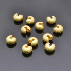 Coprischiaccini in ottone diamantati SATINATO 4mm 5mm 6mm placcata oro coprire gli schiaccini per bigiotteria