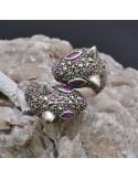 Anello incastonato con Rubini e Marcassite Felini in argento 925%o Sterling Silver Anello thailandese