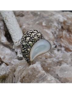 Anello a Cuore incastonato con Madreperla e Marcassite in argento 925%o Sterling Silver Anello thailandese