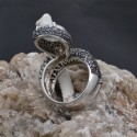 Anello serpente con zirconi in argento 925%