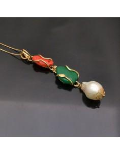Ciondolo incastonato Corallo, Agata verde e Perla Barocca in argento 925%