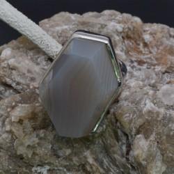 Anello geometrico Agata in argento 925%misura 51