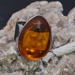 Anello Ambra in argento 925%misura 57