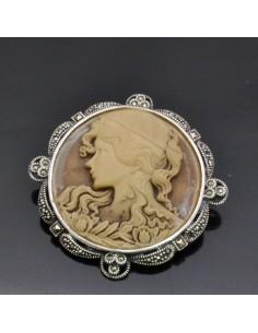 Spilla con Cammeo in argento 925% 53x53 mm
