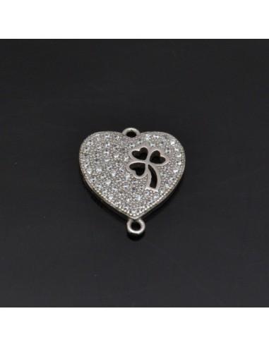 Ciondolo inframezzo Cuore con quadrifoglio con zirconi in Argento 925%