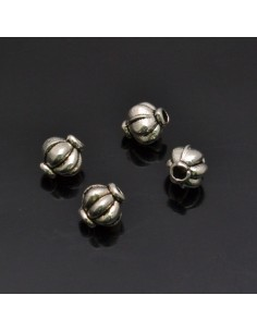 Perline inframezzi bombati 6x5 mm da 17 pezzi in metallo